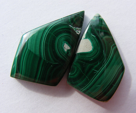 Malachite Fancy Cabs - Matched Pair