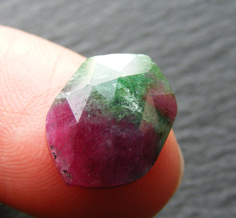 Ruby Zoisite Faceted Hex Cab.