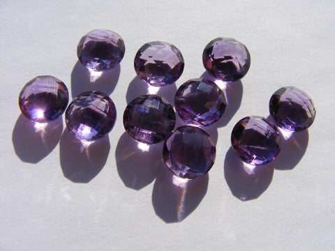 Amethyst Double Chequer Cut Round Faceted Gems