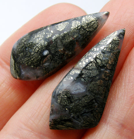 Marcasite in Quartz Fancy Cabs - Matching Pair