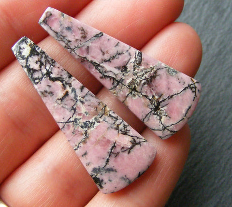 Rhodonite Tapered Cabs - Close Matched Pair