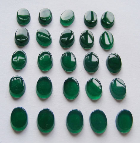 Green Agate (Dyed) Oval Cab - Buff Top Vintage