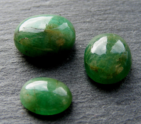 Natural Emerald Oval Cabs - 3 Pack