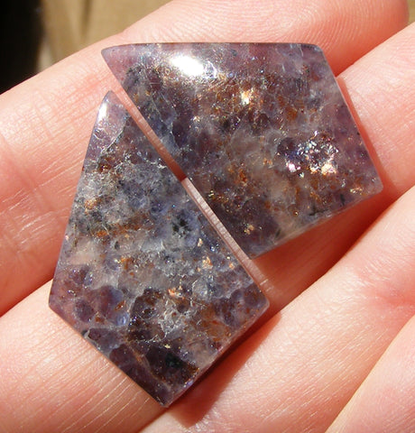 Iolite Sunstone Fancy Cabs - Matching Pair