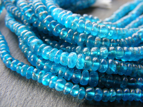 Neon Apatite Smooth Rondelle Beads Strands