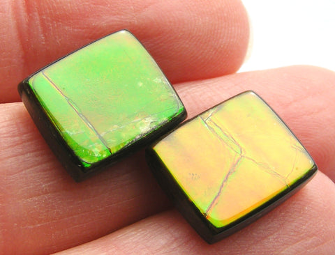 Canadian Ammolite Rectangle Cabs - AAA Grade - Matching Pair