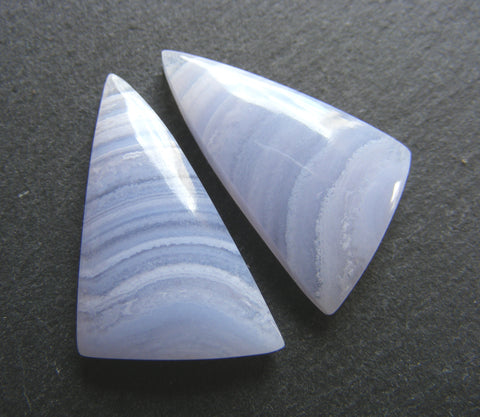 Blue Lace Agate Triangular Cabs, Matching Pair