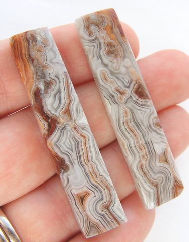 Crazy Lace Agate Rectangular Cabochon - Matched Pair