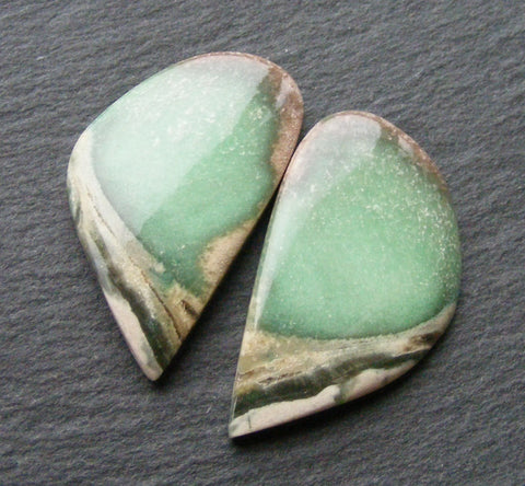 Variscite Fancy Cabs - Matching Pair