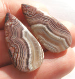 Crazy Lace Agate Pear Cabochon - Matched Pair