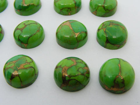 Green Copper Turquoise Round Cabs