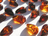 Vintage Baltic Amber Pear Cabochon - Dark Shades
