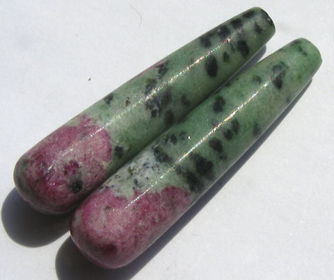 Ruby Zoisite Matching Pendulum Half Drilled Drops.