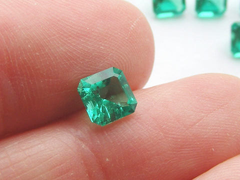 Biron Created Synthetic Emerald Square Octagon Cut Faceted Gems