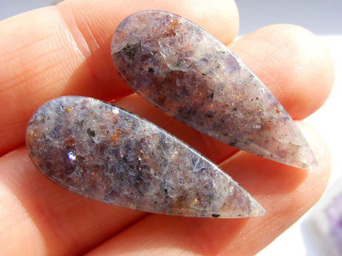 Iolite Sunstone Pear Cabs - matching pair