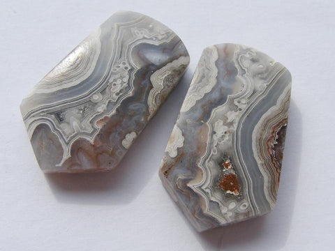 Crazy Lace Agate Fancy Cut Cabs - Matching Pair