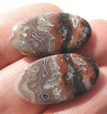 Crazy Lace Agate Oval Cabs - Matching Pair