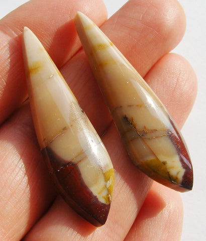 Mookaite Fancy Drop Cabs - matching pair