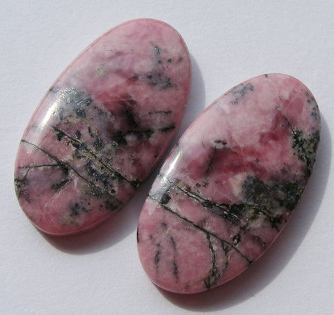 Rhodonite Oval Cabs - matching pair