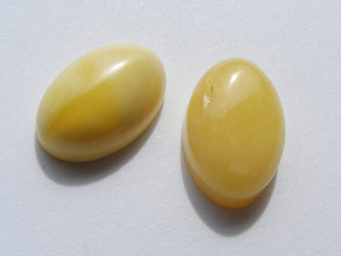 Vintage Butterscotch Baltic Amber Oval Cabs - 2 Pieces