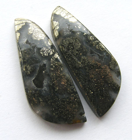 Marcasite in Agate Fancy Cabs - Matched Pair