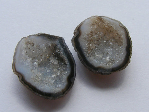 Geode Druzy Cabs - Closely Matched Pair