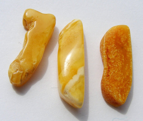 Three Free Form Baltic Butterscotch Amber Cabs/Slices