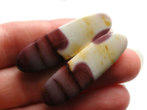 Mookaite Long Oval Cabs - Matching Pair