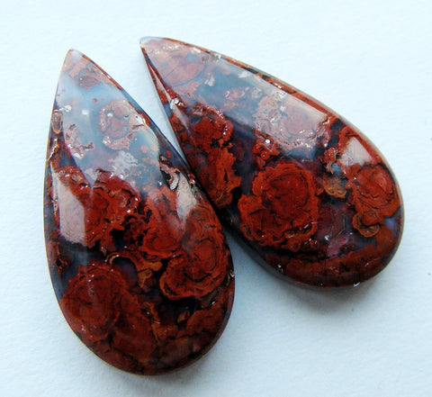 Hungarian Agate Pear Cabs - Matching Pair