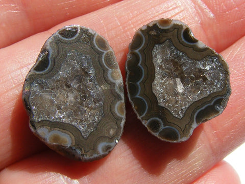 Agate Druzy Geode Halves - Matched Pair