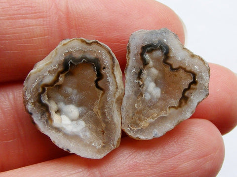 Druzy Geode Cabs Closely Matched Pair