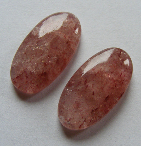 Strawberry Quartz Oval Cabs  - Matching Pair