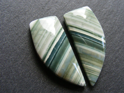 Green Banded Agate Fancy Cabs