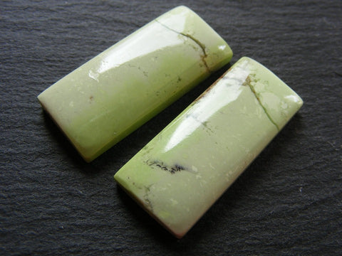 Lemon Chrysoprase Rectangular Cabs - Matching Pair