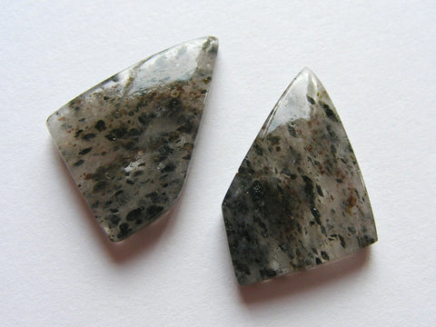 Black Dot Rutile Fancy Cabs - Matching Pair