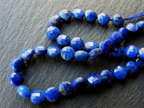 Lapis Lazuli Faceted Coin Beads Strands.
