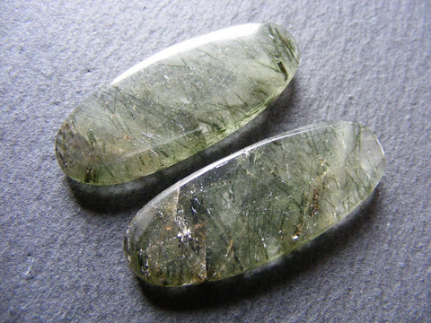 Green Rutile Quartz Oval Cab - Matching Pair