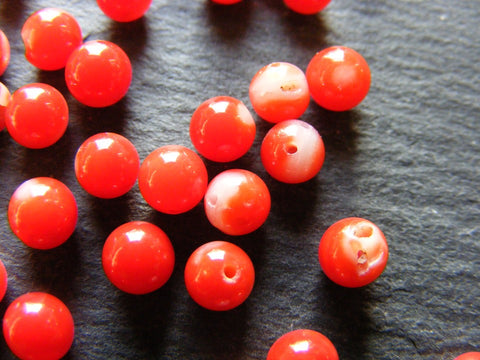 Vintage Coral Spheres - Half Drilled