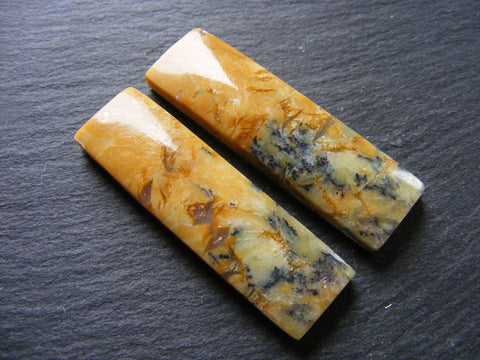 Dendritic Yellow Opal Rectangular Cabs - Matching Pair