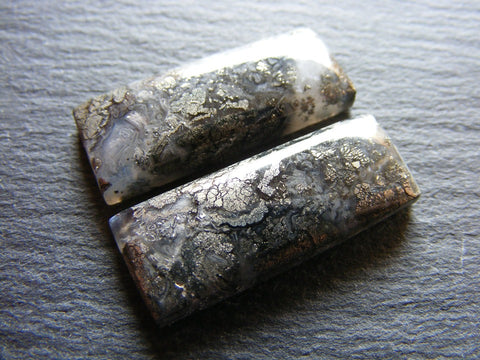 Marcasite in Quartz Rectangular Cabs - Closely Matching Pair