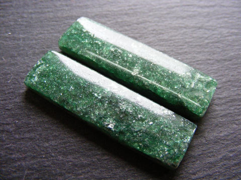 Green Aventurine Rectangular Cabs - Matching Pair
