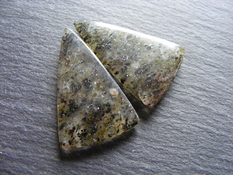 Black Dot Rutile Quartz Fancy Cabs - Matched Pair