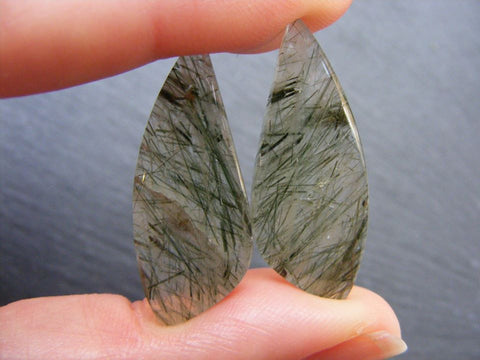 Green Rutile Quartz Fancy Cabs - Matching Pair