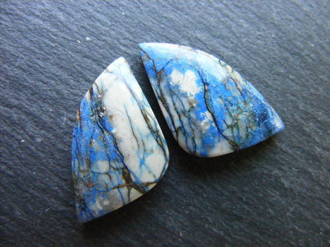 Azurite Fancy Cabs - Closely Matching Pair