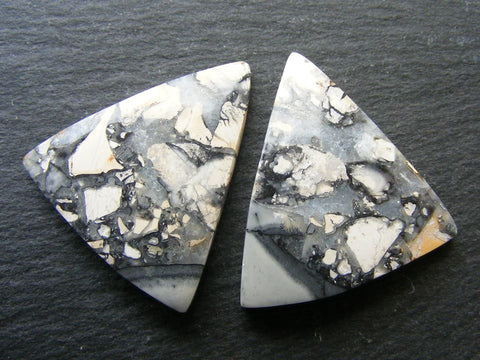 Maligano Picture Jasper Triangular Cabs - Matching Pair