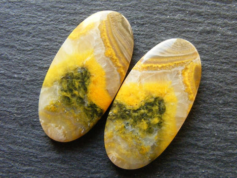 Bumble Bee Jasper Oval Cabs - Matching Pair