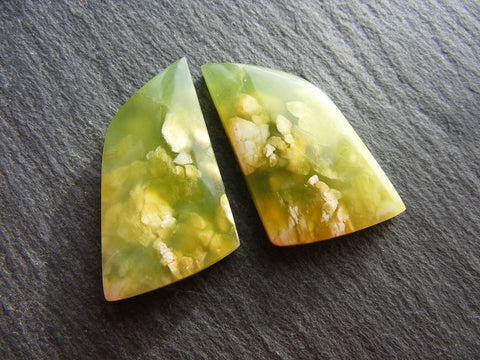 Green Jade Fancy Cabs - Matching Pair