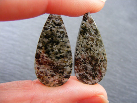 Black Dot Rutile Quartz Pear Cabs - Matched Pair