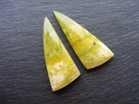Green Jade Fancy Triangular Cabs - Matching Pair