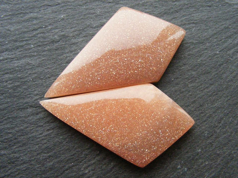 Peach Moonstone Fancy Cabs - Matching Pair